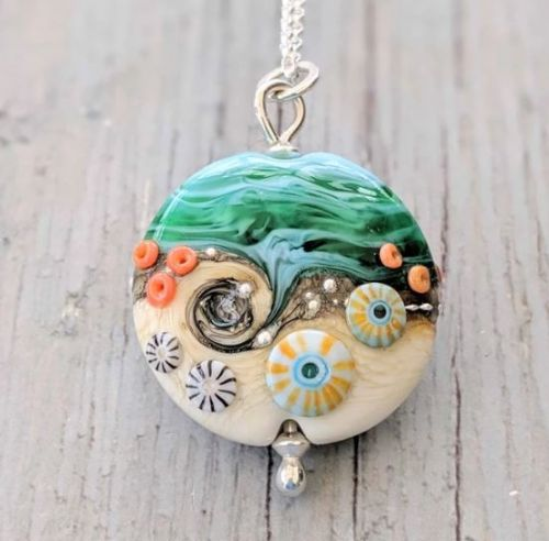 Round Shaped Beach Art Sea Ocean Glass Sterling Silver Necklace